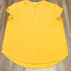 Yellow Short Sleeve V Neck 100% Polyester BlouseXL